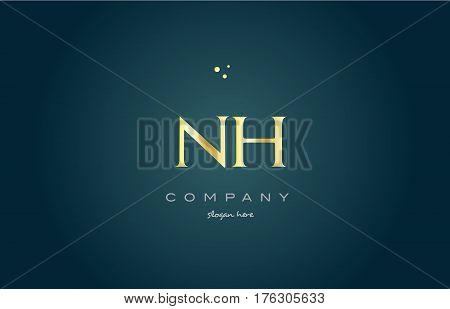 Nh N H  Gold Golden Luxury Alphabet Letter Logo Icon Template
