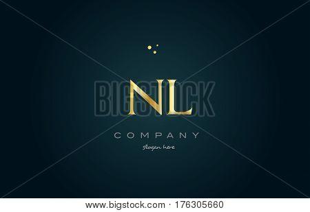 Nm N M  Gold Golden Luxury Alphabet Letter Logo Icon Template