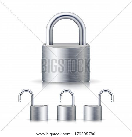 Realistic Open And Closed Silver Padlocks Set On White