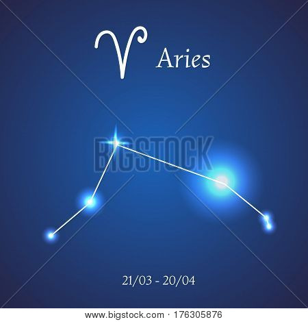 Zodiac constellation. Aries. The Ram Vector illustration