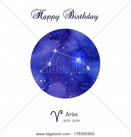 Happy birthday greeting card. Zodiac constellation. Aries. The Ram. Vector illustration