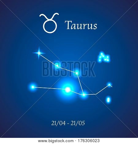 Zodiac constellation. Taurus. The Bull Vector illustration