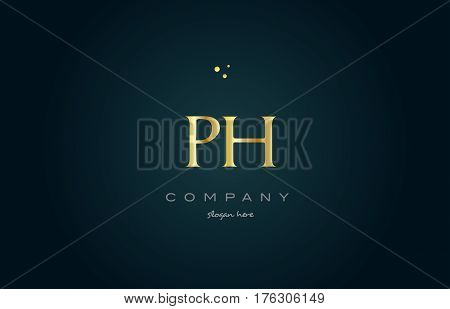 Ph P H  Gold Golden Luxury Alphabet Letter Logo Icon Template