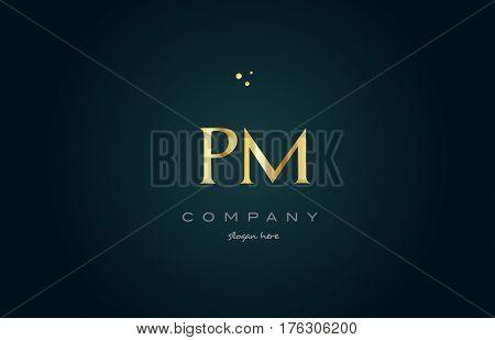 Pm P L  Gold Golden Luxury Alphabet Letter Logo Icon Template