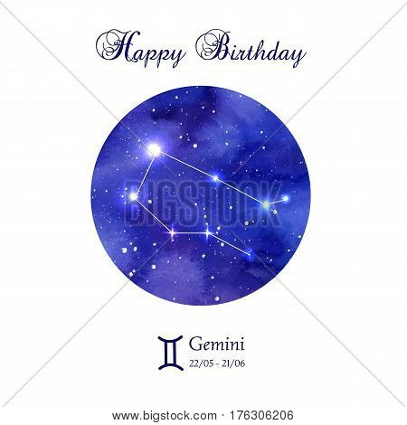 Happy birthday greeting card. Zodiac constellation. Gemini. The Twins. Vector illustration
