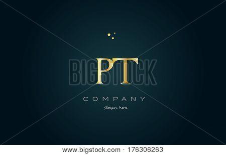 Pt P T  Gold Golden Luxury Alphabet Letter Logo Icon Template