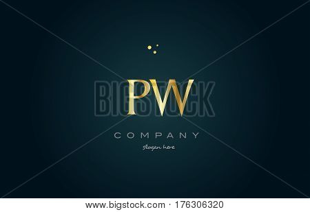Pw P W  Gold Golden Luxury Alphabet Letter Logo Icon Template