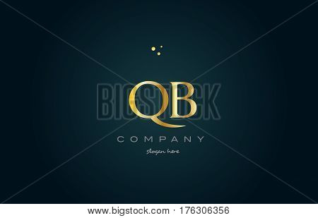 Qb Q B  Gold Golden Luxury Alphabet Letter Logo Icon Template