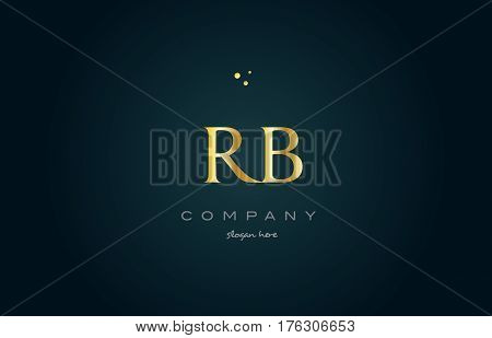 Rb R B  Gold Golden Luxury Alphabet Letter Logo Icon Template