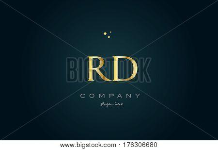 Rd R D  Gold Golden Luxury Alphabet Letter Logo Icon Template