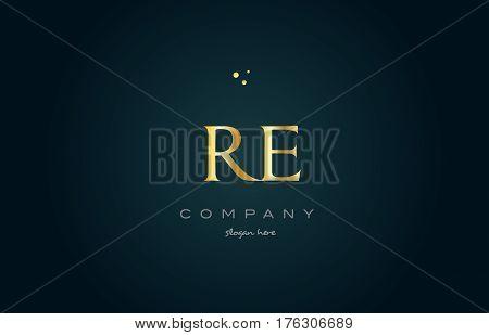 Re R E  Gold Golden Luxury Alphabet Letter Logo Icon Template