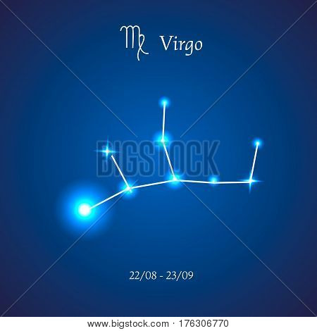 Zodiac constellation. Virgo. The Maiden Vector illustration