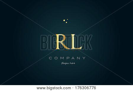 Rl R L  Gold Golden Luxury Alphabet Letter Logo Icon Template
