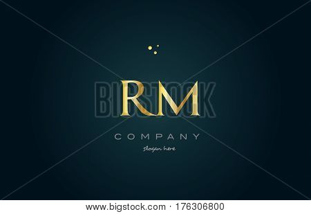 Rm R M  Gold Golden Luxury Alphabet Letter Logo Icon Template