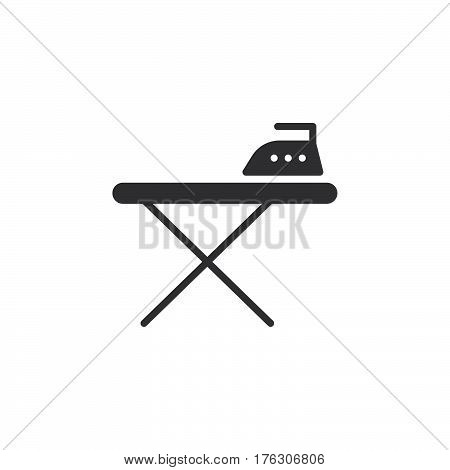 Ironing board and iron icon vector filled flat sign solid pictogram isolated on white. Symbol logo illustration
