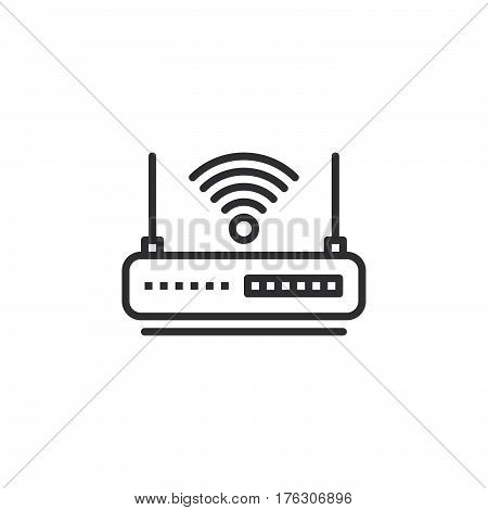WIFI router line icon outline vector sign linear pictogram isolated on white. Internet hotspot symbol logo illustration