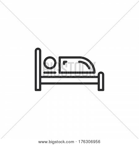 Single bed line icon outline vector sign linear pictogram isolated on white. Symbol logo illustration
