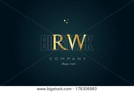Rw R W  Gold Golden Luxury Alphabet Letter Logo Icon Template