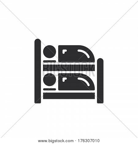 Bunk bed icon vector filled flat sign solid pictogram isolated on white. Symbol logo illustration