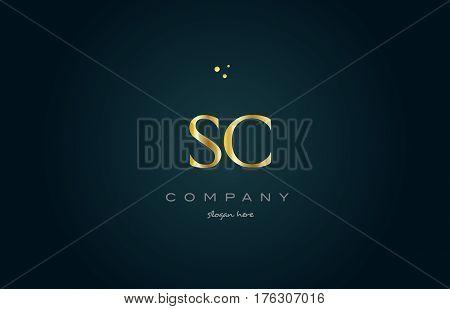 Sc S C  Gold Golden Luxury Alphabet Letter Logo Icon Template