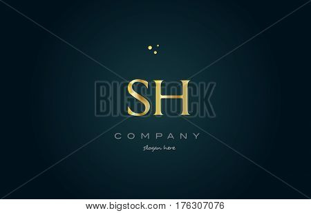 Sh S H  Gold Golden Luxury Alphabet Letter Logo Icon Template