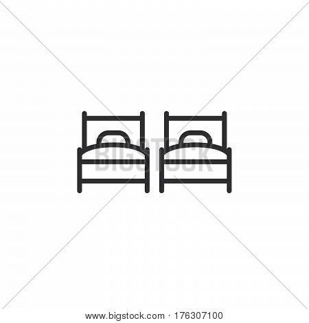 Two single beds line icon outline vector sign linear pictogram isolated on white. Twin room symbol logo illustration