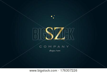 Sz S Z  Gold Golden Luxury Alphabet Letter Logo Icon Template