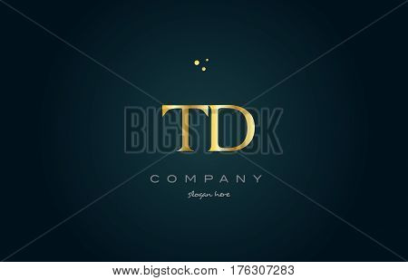 Td T D  Gold Golden Luxury Alphabet Letter Logo Icon Template