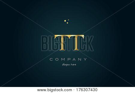 Tt T  Gold Golden Luxury Alphabet Letter Logo Icon Template