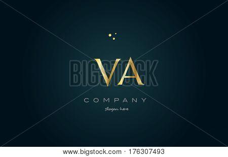 Va V A  Gold Golden Luxury Alphabet Letter Logo Icon Template