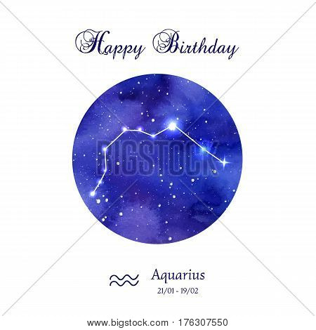 Happy birthday greeting card. Zodiac constellation. Aquarius. The Water-bearer. Vector illustration