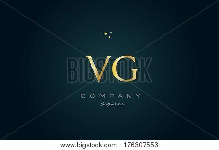 Vg V G  Gold Golden Luxury Alphabet Letter Logo Icon Template