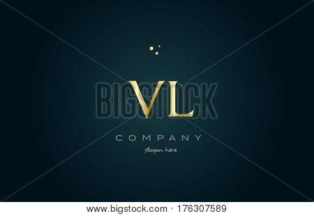 Vl V L  Gold Golden Luxury Alphabet Letter Logo Icon Template