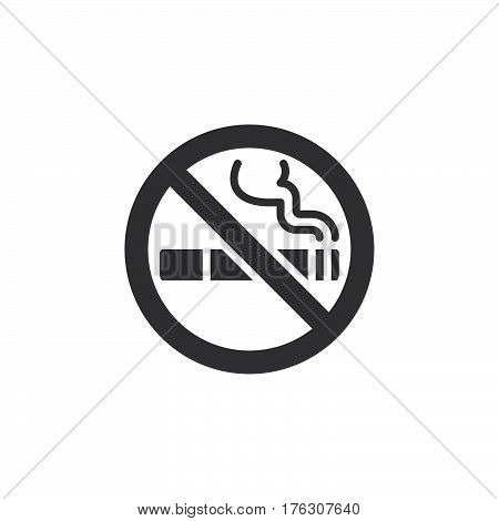 No smoking area icon vector filled flat sign solid pictogram isolated on white. Symbol logo illustration