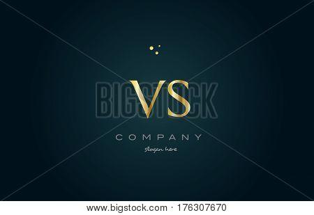 Vs V S  Gold Golden Luxury Alphabet Letter Logo Icon Template