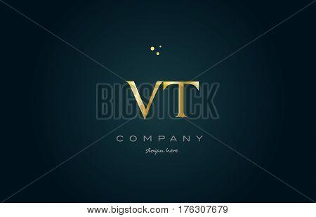 Vt V T  Gold Golden Luxury Alphabet Letter Logo Icon Template