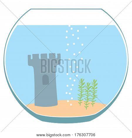 Fishbowl aquarium with castle on white background. Vector illustration