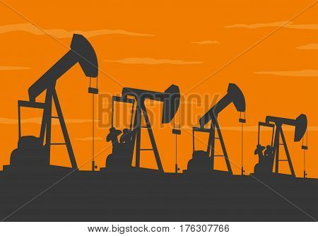 Oil pump on field silhouette - petroleum industry equipment. Vector illustration