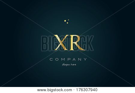 Xr X R  Gold Golden Luxury Alphabet Letter Logo Icon Template