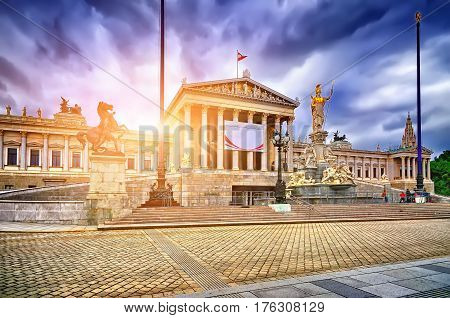 Austrian Parliament Building With Athena Statue On The Front In