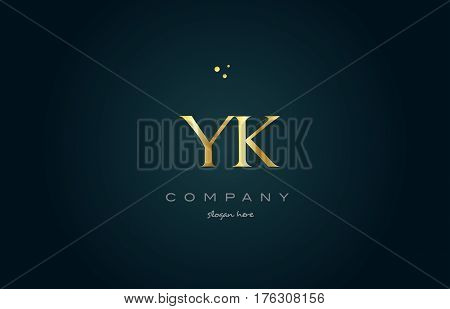 Yk Y K  Gold Golden Luxury Alphabet Letter Logo Icon Template