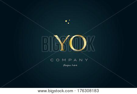 Yo Y O  Gold Golden Luxury Alphabet Letter Logo Icon Template