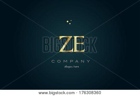 Ze Z E  Gold Golden Luxury Alphabet Letter Logo Icon Template