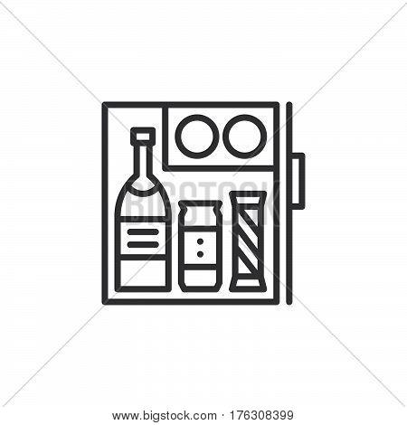 Hotel mini fridge bar line icon outline vector sign linear pictogram isolated on white. Symbol logo illustration