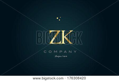 Zk Z K  Gold Golden Luxury Alphabet Letter Logo Icon Template