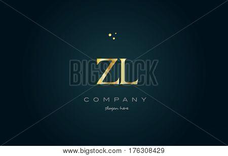 Zl Z L  Gold Golden Luxury Alphabet Letter Logo Icon Template