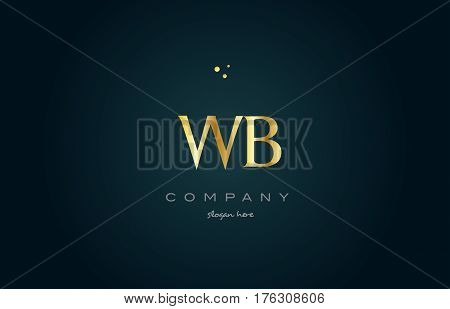 Wb W B  Gold Golden Luxury Alphabet Letter Logo Icon Template