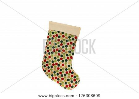 A photograph of a Christmas stocking isolated on a white background