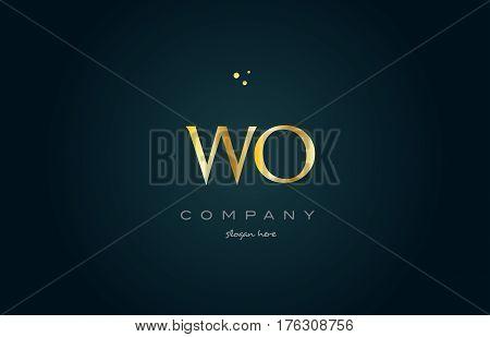 Wo W O  Gold Golden Luxury Alphabet Letter Logo Icon Template