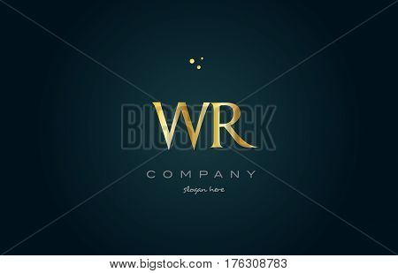 Wr W R  Gold Golden Luxury Alphabet Letter Logo Icon Template